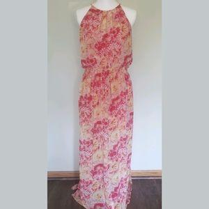 Umgee Pink Boho Halter Maxi Sleeveless Dre…